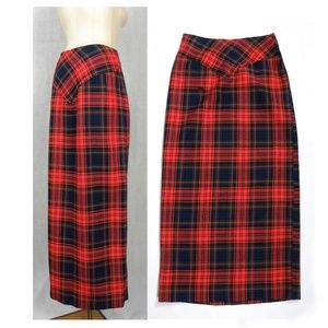 VTG 70s MOD Preppy Red Plaid MAXI Skirt